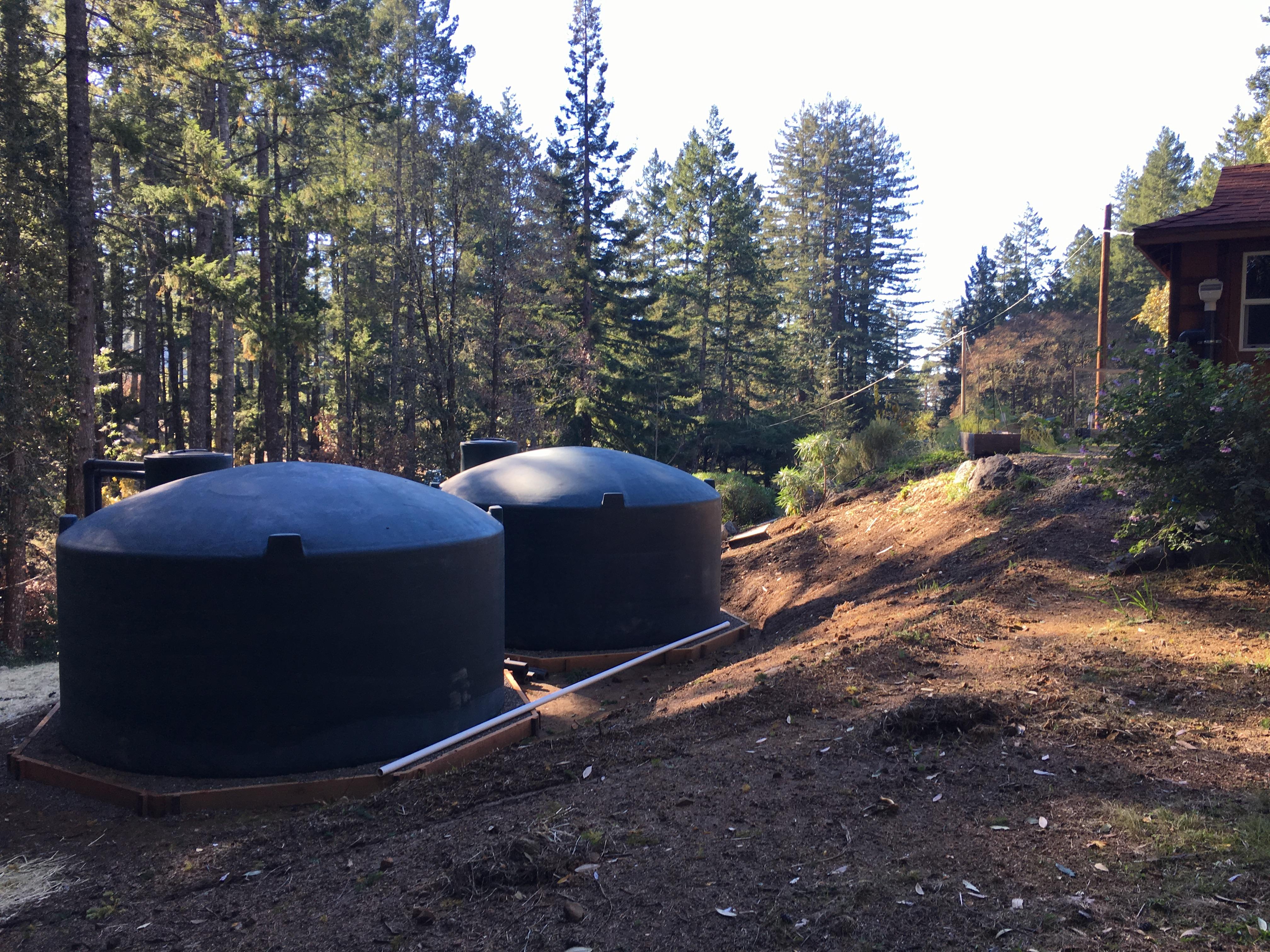 Rainwater tanks installed on Sonoma Coast Range.